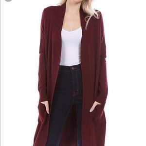 Old Navy Burgundy Long Cardigan Sweater